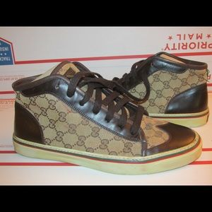 Gucci canvas monogram wingtip high top sneakers